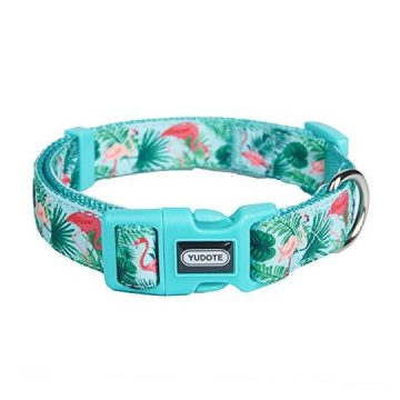 YUDOTE Adjustable Basic Dog Collar Durable Nylon Collars for Medium Female Male Dogs & Puppies 2019 New Flamingo Pattern Cute Soft & Comfortable Medium Neck 12″19″