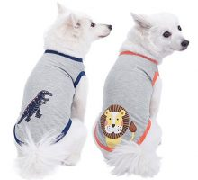 Blueberry Pet Pack of 2 Soft & Comfy Zoo Fun Cotton Blend Dog T Shirts Back Length 10″ Clothes for Dogs
