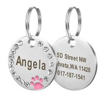 Didog Stainless Steel Custom Engraved Pet ID TagsRound Crystal Rhinestones Tags with Pretty Paw PrintDoubleSide Laser Engraving Tags Fit Small Medium Large Dogs and KittensPink