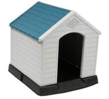 no!no! Plastic Indoor Outdoor Dog House Small to Medium Pet All Weather Doghouse Puppy Shelter White Blue Roof