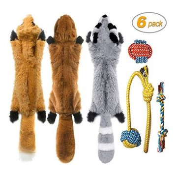 Peteast3 Squeaky Toys and 3 Rope Dog Toys No Stuffing Squeaky Plush Fox Raccoon Squirrel Puppy Chew Teething Rope Toys Set for S M L Dogs Pets Animals