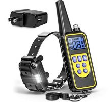 Fcolor Dog Training Collar Rechargeable Waterproof Dog Shock Collar for Dogs with Remote 2600ftwith Beep Vibrating Shock LED Light 4 Modes for Small Medium Large Dogs Black