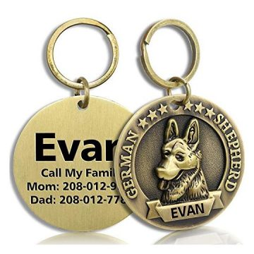 FunTags Bronze Breeds Customized Dog Head 3D Effect Dog ID TagHighRelief Copper Dog TagPersonalized Stainless Steel Front&Back Laser Engraving Dog Name TagGerman Shepherd Tag