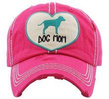 H212DMH24 Distressed Baseball Cap Vintage Dad Hat  Dog Mom Heart