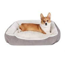 JEMA Rectangle Dog Bed  Lounger for Dogs & Cats with Self Warming Cozy Reversible Removable Inner Plush Cushion Non Slip Waterproof Bottom Square Medium Cuddler Pet Bed
