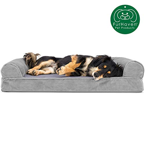 Furhaven Pet Dog Bed | Orthopedic Faux Fur & Velvet Traditional SofaStyle Living Room Couch Pet Bed w  Removable Cover for Dogs & Cats Smoke Gray Medium