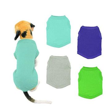 YAODHAOD Solid Color Dog TShirts Clothes Cotton Shirts Soft and Breathable Dog Shirts Apparel Fit for Small Extra Small Medium Dog Cat 4pcs