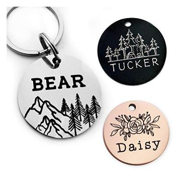 YiXiEr Cute Custom Pet ID Tags Dog Tag and Cat Tag Personalized Engraved Double Sided  Round Stainless Steel