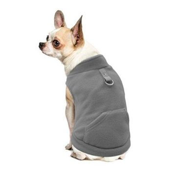 EXPAWLORER Fleece Autumn Winter Cold Weather Dog Vest Harness Clothes with Pocket Grey Small