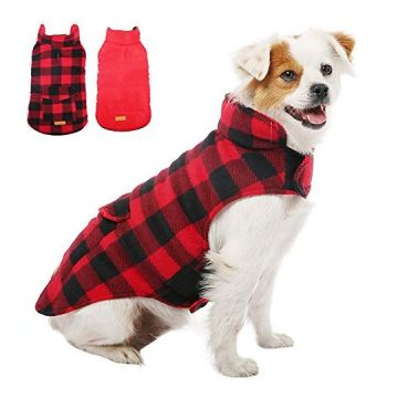 Kuoser British Style Plaid Dog Winter Coat Windproof Cozy Cold Weather Dog Coat Dog Apparel Dog Jacket Dog Vest for Small Medium and Large Dogs with Pocket & Leash Hook Red XS