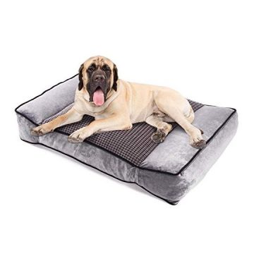 Pecute Dog Bed Warm Plush & Cool Silk DoubleSided Pet Bed Four Seasons Available Orthopedic Memory Foam Care for Cervical Spine Dog Lounge Bed Sofa with Removable Cover Washable