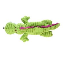 TrustyPup Gator Plush Dog Toy with Silent Squeaker Green