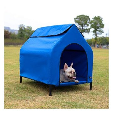 AmazonBasics Elevated Portable Pet House  Small Blue