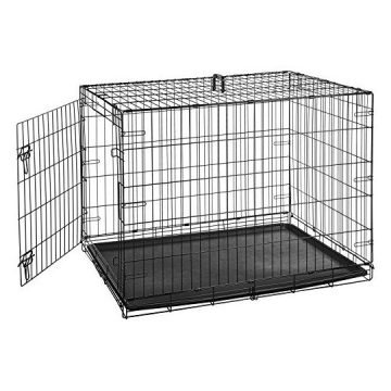AmazonBasics Single Door Folding Metal Cage Crate For Dog or Puppy  42 x 28 x 30 Inches