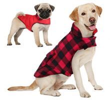 AOFITEE Reversible Dog Cold Weather Coat Waterproof British Style Plaid Winter Pet Jacket Warm Cotton Lined Vest Windproof Collar Outdoor Apparel for Small Medium and Large Dogs