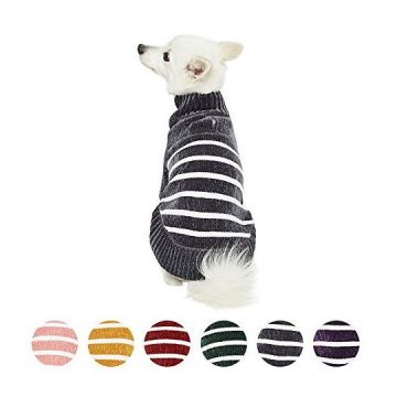 Blueberry Pet 2020 New Cozy Soft Chenille Classy Striped Dog Sweater in Chic Grey Back Length 16″ Pack of 1 Clothes for Dogs