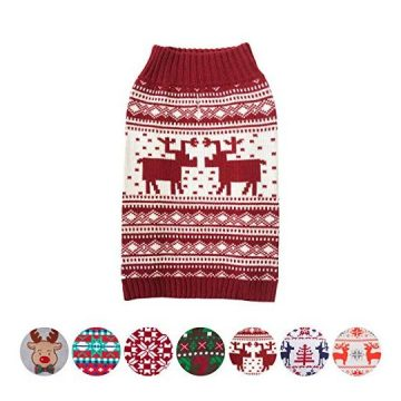 Blueberry Pet 6 Patterns Vintage Festive Red Ugly Christmas Reindeer Holiday Festive Dog Sweater Back Length 16″ Pack of 1 Clothes for Dogs