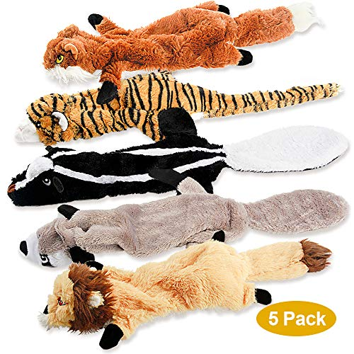 Dog Squeaky Toys No Stuffing Plush Pet Chew Toy for Small Medium Large Puppy 5 Pack Two Squeaky Cute Animals