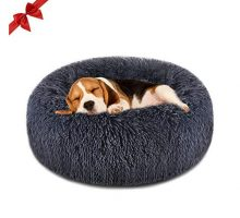 "Focuspet Dog Bed Donut Faux Fur Cuddler Bed Size Medium 23"" for Cats & Dogs Round Ultra Soft Washable Self Warming Pet Cuddler Beds"