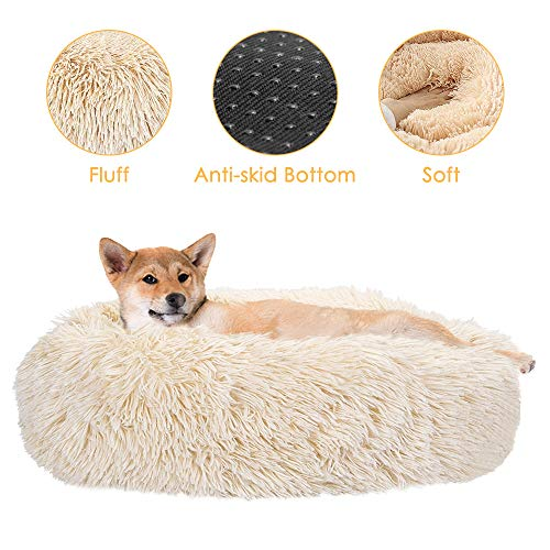 SlowTon Dog Bed Ultra Soft Donut Cuddler Nest Warm Plush Dog Cat Cushion with Cozy Sponge NonSlip Bottom for Small Medium Pets Snooze Calm Sleeping Indoor Machine Washable