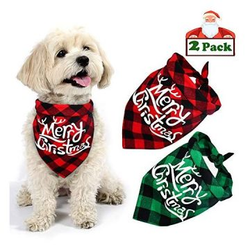 Yodofol Dog Christmas Bandana Buffalo Plaid Pet Bandana Reversible Triangle Merry Christmas Bibs Accessories for Dogs Cats Pets