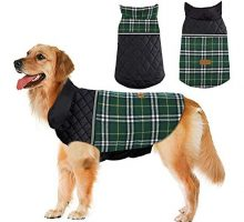 Dog Jacket Winter Dog Coat Reversible Reflective Dogs Apparel Warm Weatherproof British Style Plaid Dog Vest for Small Medium Large Dogs