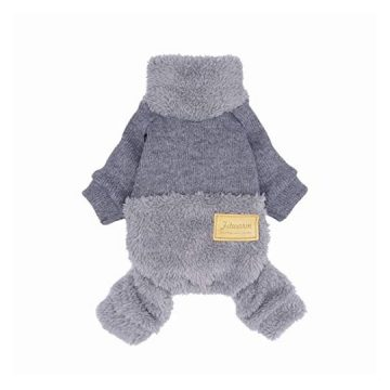 Fitwarm Turtleneck Knitted Dog Clothes Winter Outfits Pet Jumpsuits Cat Sweaters Grey XS