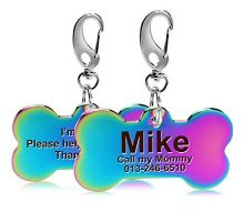 FunTags Front&Back Laser Engraved Dog Tag1 Custom Large Dog Tags PersonalizedName Identification Pet ID Tags for Dogs&CatRainbow Color