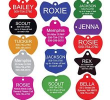 GoTags Pet ID Personalized Pet Tags for Dogs and Cats Front & Backside Engraving and Sizes Anodized Aluminum Heart Shape Small