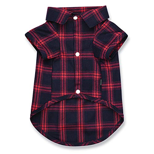 Koneseve Dog Shirt Pet Plaid Shirts Polo Clothes TShirt Sweater Bottoming Shirt Soft for Small Dog Cat Puppy Grid Apparel Cozy Adorable HalloweenChristmas Costumes { Red1; XXL }
