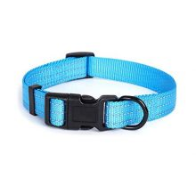 Mile High Life Dog Collar | Nylon with Reflective Three 3M Straps | Hot Blue XSmall Neck 9″13″ 20 lb