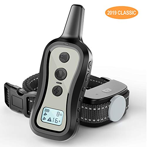 PATPET Dog Training Collar Dog Shock Collar with Remote w 3 Training Modes Beep Vibration and Shock Up to 1000 ft Remote Range Rainproof for Small Medium Large Dogs