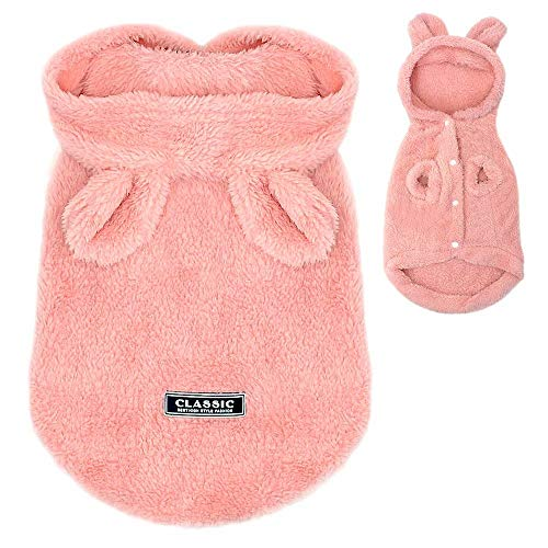PET ARTIST Winter Warm Small Dog Pajamas Coats for PuppyCute Rabbit Design Pet PJS JumpsuitSoft Fleece Hoodie Clothes for Chihuahua Yorkie Poodles