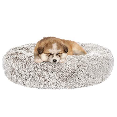 SHU UFANRO Dog Beds for Medium Small Dogs Round Cat Cushion Bed Pet Beds Cozy Fur Donut Cuddler Improved Sleep Washable NonSlip Bottom