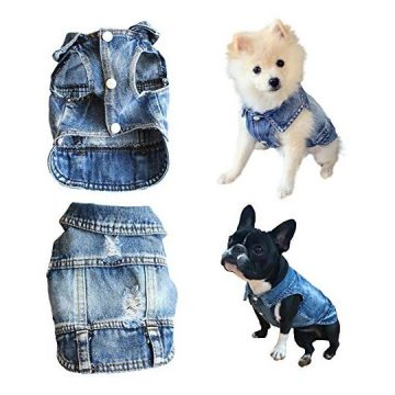 Strangefly Dog Jeans Jacket Blue Puppy Denim Jacket Machine Washable Coats Comfort and Cool Apparel for Small Medium Dogs Pets and Cats(S)