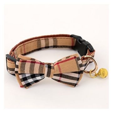 SuperBuddy Bell Cat and Dog Collar with Bowtie  Cute Plaid BowtieSoft and ComfortableAdjustable Bowtie Collar for Small Medium   Large Dogs