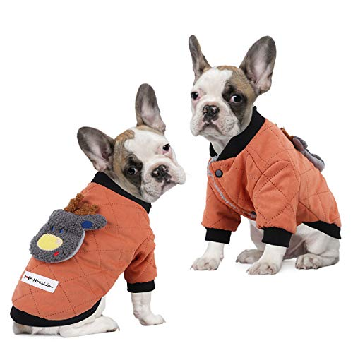 voopet Dog Jacket Warm Winter Coat for Dogs  Soft Fleece Lining Costume Reindeer Pattern Dog Apparel Windproof Padded Vest Clothes for Small and Medium Dogs