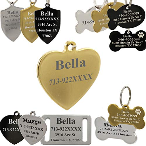 AAACUSTOM Custom Stainless Steel Pet ID TagsPersonalized Dog Tags and Cat TagsCustom Text Engraved on Both Sidesin BoneFish and MoreMade in USA
