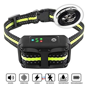 Authen Bark Collar Barking Control Training Collar with Beep Vibration and No Harm Shock(5 Adjustable Sensitivity Control) for Small Medium Large Dog