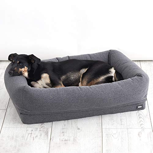 BarkBox Memory Foam Dog Bed | Plush Orthopedic Joint Relief 21 Crate or Pillow Bed Machine Washable + Removable Cover; Waterproof Lining Includes Squeaker Toy | Medium | Grey