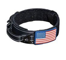 Dog Collar With Control Handle Quick Release Metal Buckle Heavy Duty Military Style Adjustable 2″ Width Nylon With USA Flag For Handling And Training Large Canine Male Or Female K9