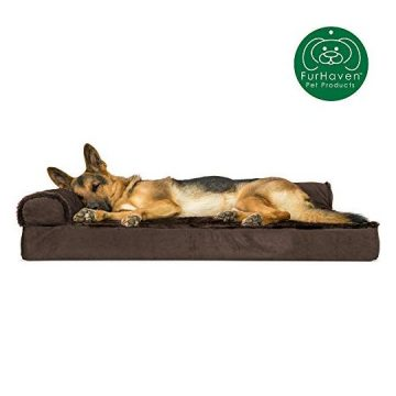 Furhaven Pet Dog Bed | Deluxe Orthopedic Plush Faux Fur & Velvet L Shaped Chaise Lounge Living Room Corner Couch Pet Bed w  Removable Cover for Dogs & Cats Sable Brown Jumbo