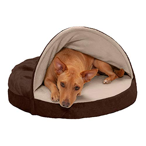 Furhaven Pet Dog Bed | Memory Foam Round Cuddle Nest Micro Velvet Snuggery Blanket Burrow Pet Bed w  Removable Cover for Dogs & Cats Espresso 26Inch
