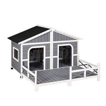 PawHut Wood Raised Pet Dog House Outdoor Weatherproof Rustic Log Cabin Style Grey