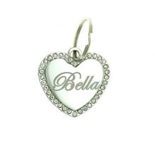 Yippo Accessories Custom Engraved Personalized Stainless Steel Medium Heart Rhinestones Pet Jewelry Cat Dog ID Tag