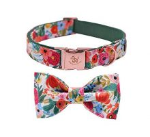 Elegant little tail Dog Collar with Bow Cotton & Webbing Bowtie Dog Collar Adjustable Dog Collars for Small Medium Large Dogs and Cats