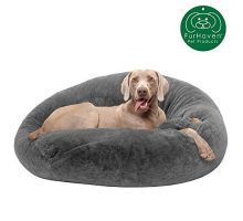 Furhaven Pet Dog Bed | Round Plush Faux Fur Refillable Ball Nest Cushion Pet Bed w  Removable Cover for Dogs & Cats Gray Mist Large