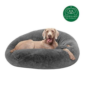 Furhaven Pet Dog Bed   Round Plush Faux Fur Refillable Ball Nest Cushion Pet Bed w  Removable Cover for Dogs & Cats Gray Mist Large