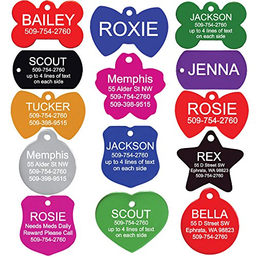 GoTags Custom Engraved Pet ID Tags for Dogs and Cats Personalized on Both Sides Many Tag Shapes Including Bone Heart Bow Tie Star Round and Badge 2 Sizes for Pets Small to Large