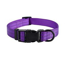 Mile High Life Dog Collar | Nylon with Reflective Three 3M Straps | Purple XSmall Neck 9″13″ 20 lb